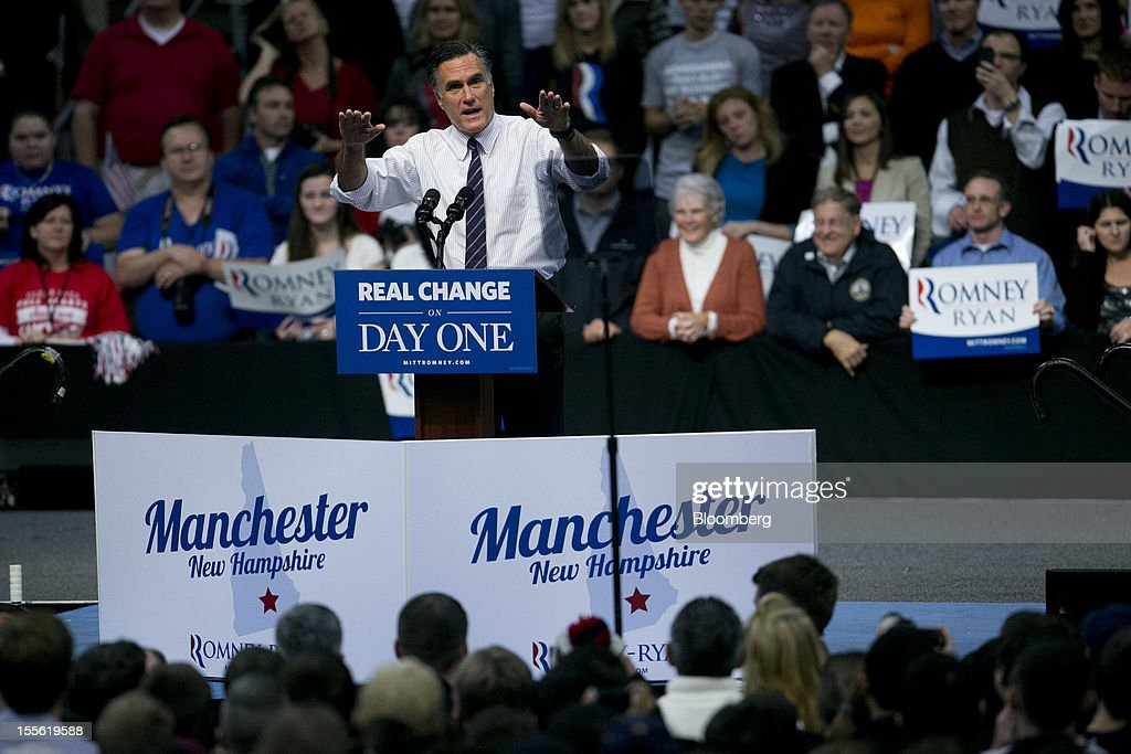 <a gi-track='captionPersonalityLinkClicked' href=/galleries/search?phrase=Mitt+Romney&family=editorial&specificpeople=207106 ng-click='$event.stopPropagation()'>Mitt Romney</a>, Republican presidential candidate, gestures as he speaks on stage during a campaign rally at the Verizon Wireless Center in Manchester, New Hampshire, U.S., on Monday, Nov. 5, 2012. President Barack Obama beseeched core supporters and wayward backers to go to the polls, while Romney reached for an upset victory powered by anti-incumbent fervor on the final full day of a race that polls suggest has tilted slightly in the president's favor. Photographer: Andrew Harrer/Bloomberg via Getty Images
