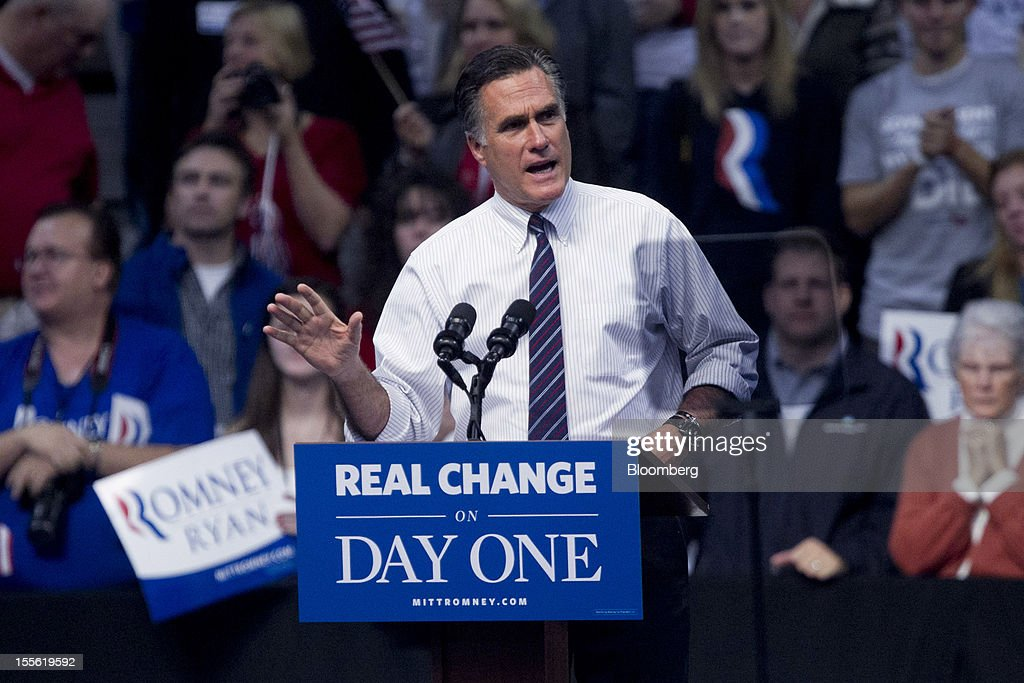 <a gi-track='captionPersonalityLinkClicked' href=/galleries/search?phrase=Mitt+Romney&family=editorial&specificpeople=207106 ng-click='$event.stopPropagation()'>Mitt Romney</a>, Republican presidential candidate, speaks on stage during a campaign rally at the Verizon Wireless Center in Manchester, New Hampshire, U.S., on Monday, Nov. 5, 2012. President Barack Obama beseeched core supporters and wayward backers to go to the polls, while Romney reached for an upset victory powered by anti-incumbent fervor on the final full day of a race that polls suggest has tilted slightly in the president's favor. Photographer: Andrew Harrer/Bloomberg via Getty Images