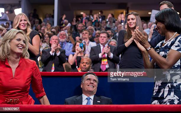 Mitt Romney republican presidential nominee receives applause from his wife Ann left and Condoleeza Rice former Secretary of State after Ann...