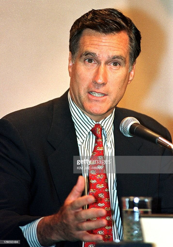 Mitt Romney Salt Lake City organising committee chief speaks to journalists at a press conference in Seoul's Shilla Hotel 17 June 1999 during the...