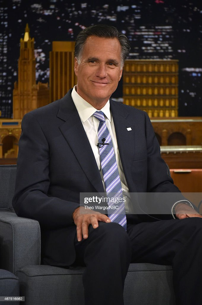 <a gi-track='captionPersonalityLinkClicked' href=/galleries/search?phrase=Mitt+Romney&family=editorial&specificpeople=207106 ng-click='$event.stopPropagation()'>Mitt Romney</a> Visits 'The Tonight Show Starring Jimmy Fallon' at Rockefeller Center on March 25, 2015 in New York City.