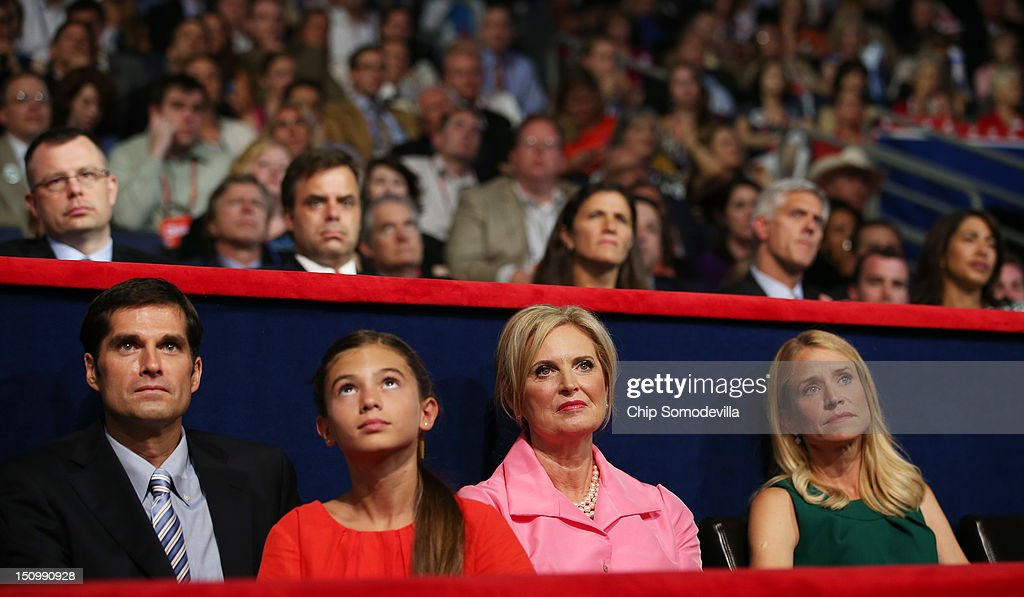 Mitt Romney's son Matt Romney, and daughter Chloe Romney Romney's wife Ann Romney, Paul Ryan's wife Janna Ryan sit in the VIP box during the third day of the Republican National Convention at the Tampa Bay Times Forum on August 29, 2012 in Tampa, Florida. Former Massachusetts Gov. Mitt Romney was nominated as the Republican presidential candidate during the RNC, which is scheduled to conclude August 30.