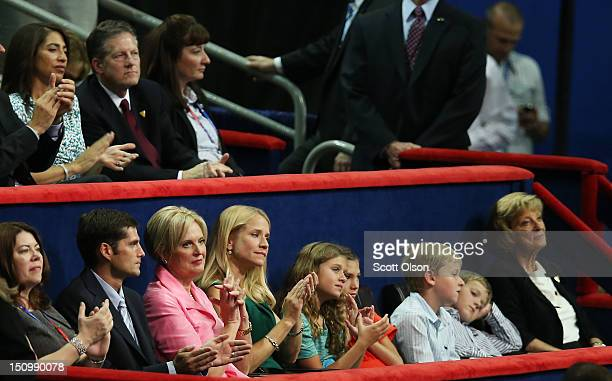Mitt Romney's son Matt Romney and wife Ann Romney Paul Ryan's wife Janna Ryan daughter Liza Ryan and sons Charlie Ryan and Sam Ryan and his mother...