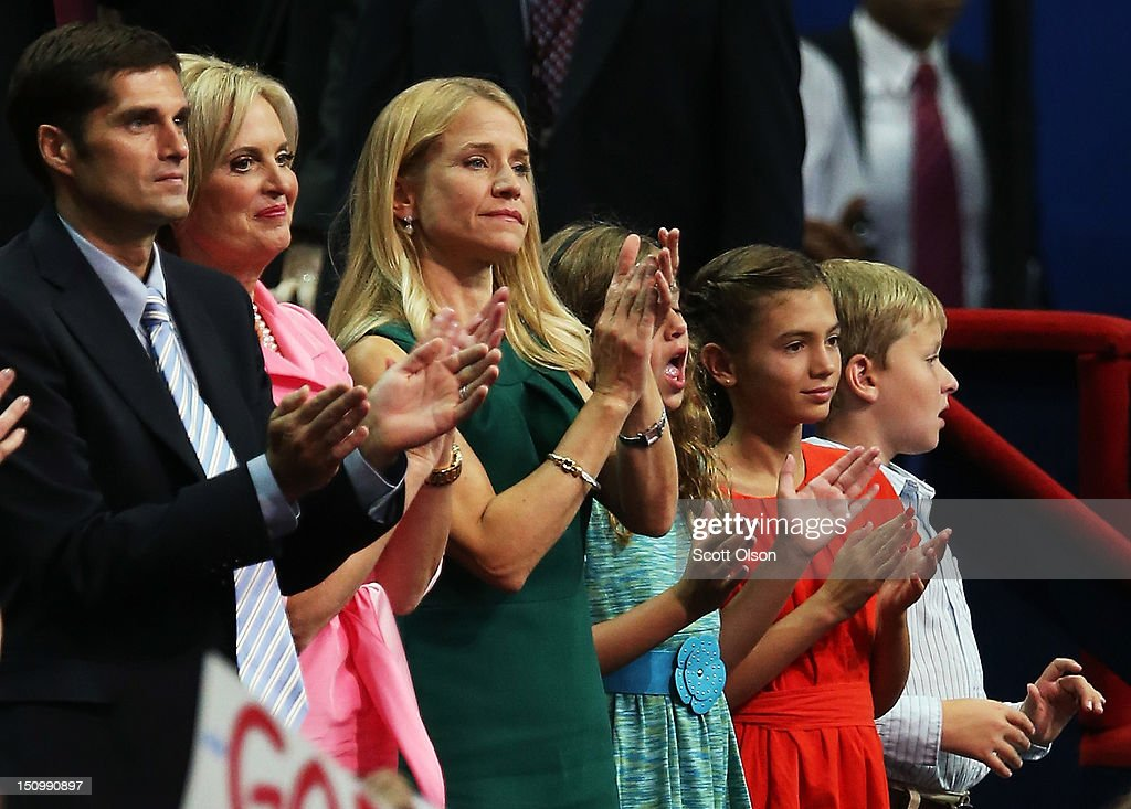 Mitt Romney's son Matt Romney, and wife Ann Romney, Paul Ryan's wife Janna Ryan, daughter Liza Ryan, Romney's grandchild Chloe Romney and Ryan's son, Charlie Ryan sit in the VIP box during the third day of the Republican National Convention at the Tampa Bay Times Forum on August 29, 2012 in Tampa, Florida. Former Massachusetts Gov. Mitt Romney was nominated as the Republican presidential candidate during the RNC, which is scheduled to conclude August 30.