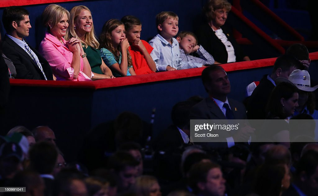 Mitt Romney's son Matt Romney, and wife Ann Romney, Paul Ryan's wife Janna Ryan, daughter Liza Ryan, Romney's grandchild Chloe Romney, Ryan's sons, Charlie Ryan and Sam Ryan and mother Elizabeth Ryan sit in the VIP box during the third day of the Republican National Convention at the Tampa Bay Times Forum on August 29, 2012 in Tampa, Florida. Former Massachusetts Gov. Mitt Romney was nominated as the Republican presidential candidate during the RNC, which is scheduled to conclude August 30.