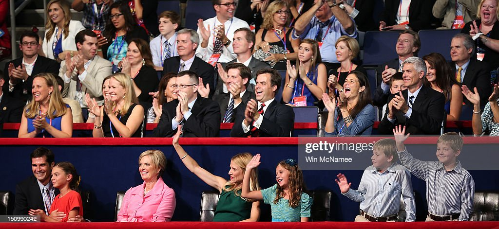 Mitt Romney's son Matt Romney, with daughter Chloe Romney Mitt Romney's wife, Ann Romney, Paul Ryan's wife, Janna Ryan, daughter, Liza Ryan, and sons, Charlie Ryan and Sam Ryan sit in the VIP box during the third day of the Republican National Convention at the Tampa Bay Times Forum on August 29, 2012 in Tampa, Florida. Former Massachusetts Gov. Mitt Romney was nominated as the Republican presidential candidate during the RNC, which is scheduled to conclude August 30.