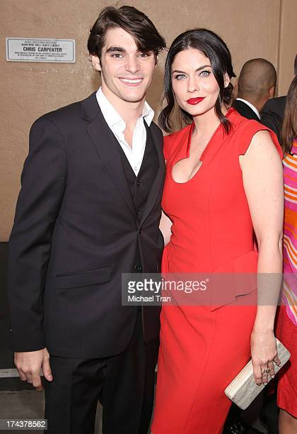 Mitte and Jodi Lyn O'Keefe arrive at AMC's 'Breaking Bad' special premiere event held at Sony Pictures Studios on July 24 2013 in Culver City...