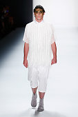 Mitte walks the runway at the Sopopular show during the MercedesBenz Fashion Week Berlin Spring/Summer 2016 at Brandenburg Gate on July 7 2015 in...