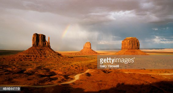 Mittens at sunset with rainbow overhead : Stock Photo