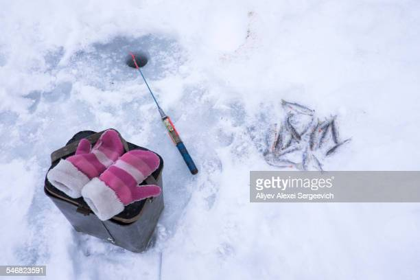 Mittens, fishing pole and fresh catch at ice fishing hole