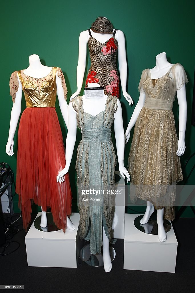 Mitzi Gaynor's dresses seen on display at Julien's Auctions Gallery on April 1, 2013 in Beverly Hills, California.
