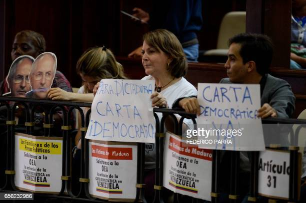 Mitzy Capriles de Ledezma wife of the Mayor of Caracas Antonio Ledezma attends the discussion for the activation of the Organization of American...