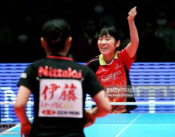 Miu Hirano celebrates winning the Women's Singles semi final against Mima Ito during day seven of the All Japan Table Tennis Championships at the...