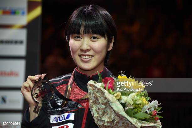 <Miu Hirano of Japan celebrates the Bronze medal for the first time in 48 years> at Messe Duesseldorf on June 4 2017 in Dusseldorf Germany