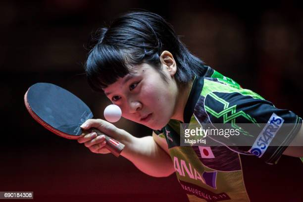 Miu Hirano of Japan competes during women Double 1 Round at Table Tennis World Championship at Messe Duesseldorf on May 30 2017 in Dusseldorf Germany