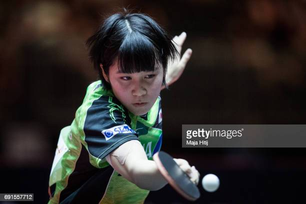 Miu Hirano of Japan competes during Women's Singles quarterfinals at Table Tennis World Championship at Messe Duesseldorf on June 2 2017 in...