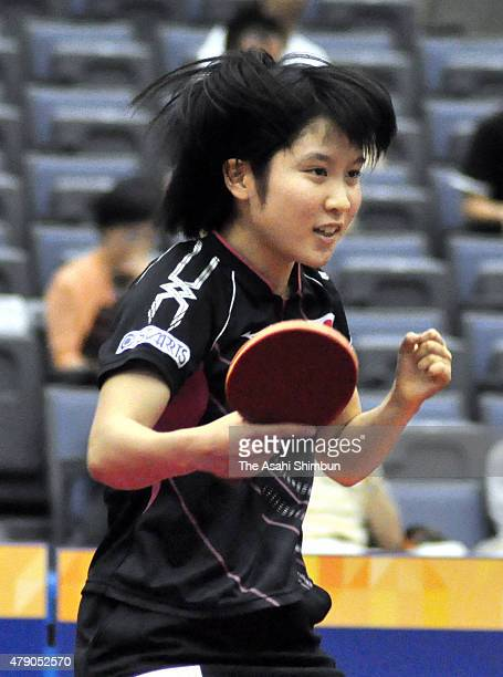 Miu Hirano of Japan competes in the Women's Doubles Qualifing final round during day two of the ITTF World Tour Super Series Japan Open at Green...
