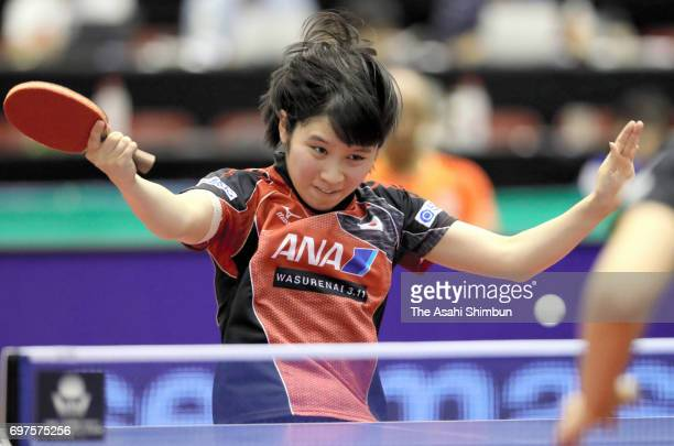 Miu Hirano of Japan competes in the Women's Singles quarter final match against Meng Chen of China on day four of the 2017 ITTF World Tour Platinum...
