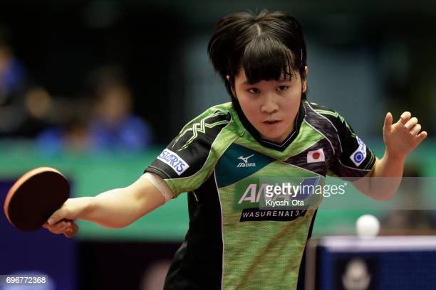 Miu Hirano of Japan competes in the Women's Singles second round match against Jeon Jihee of South Korea during day four of the 2017 ITTF World Tour...