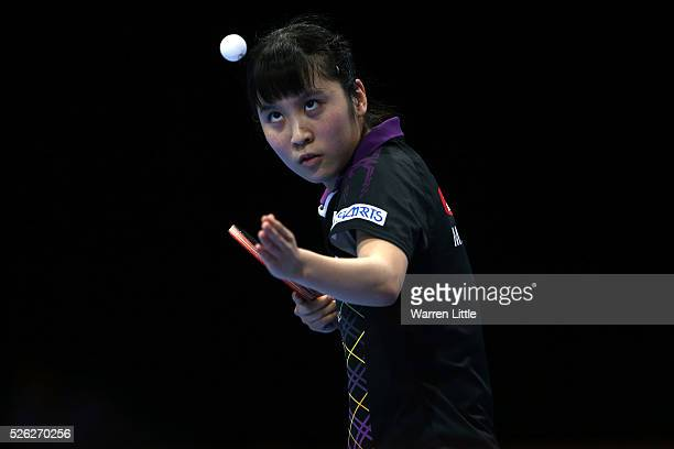 Miu Hirano of Japan in action against Jiang Huanjun of Hong Kong in the Women's quarter final match during day two of the Nakheel Table Tennis Asian...