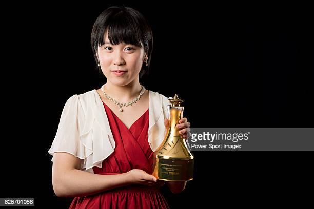 Miu Hirano of Japan poses backstage with her Table Tennis Breakthrough Star Award trophy during the ITTF Star Awards on December 8 2016 in Doha Qatar