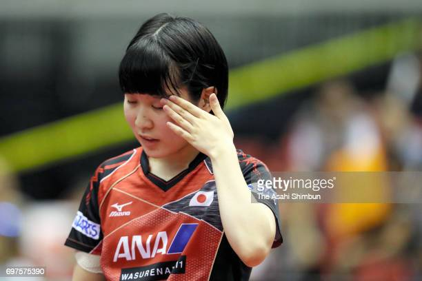 Miu Hirano of Japan reacts during the Women's Singles quarter final match against Meng Chen of China on day four of the 2017 ITTF World Tour Platinum...