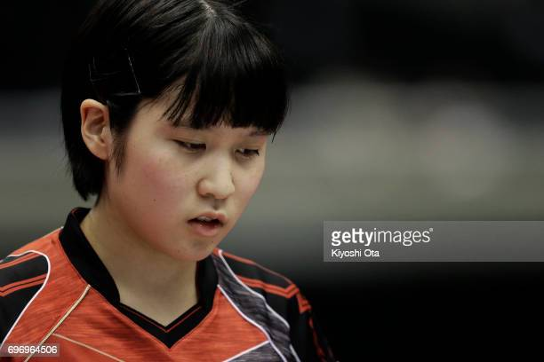 Miu Hirano of Japan reacts in the Women's Singles quarter final match against Chen Meng of China during day four of the 2017 ITTF World Tour Platinum...