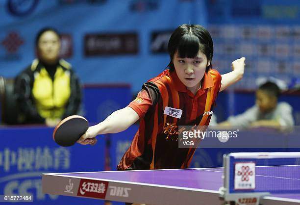 Miu Hirano of Ordos team plays against Che Xiaoxi of Shanxi Datuhe team during the second round match of 2016 China Table Tennis Super League at the...