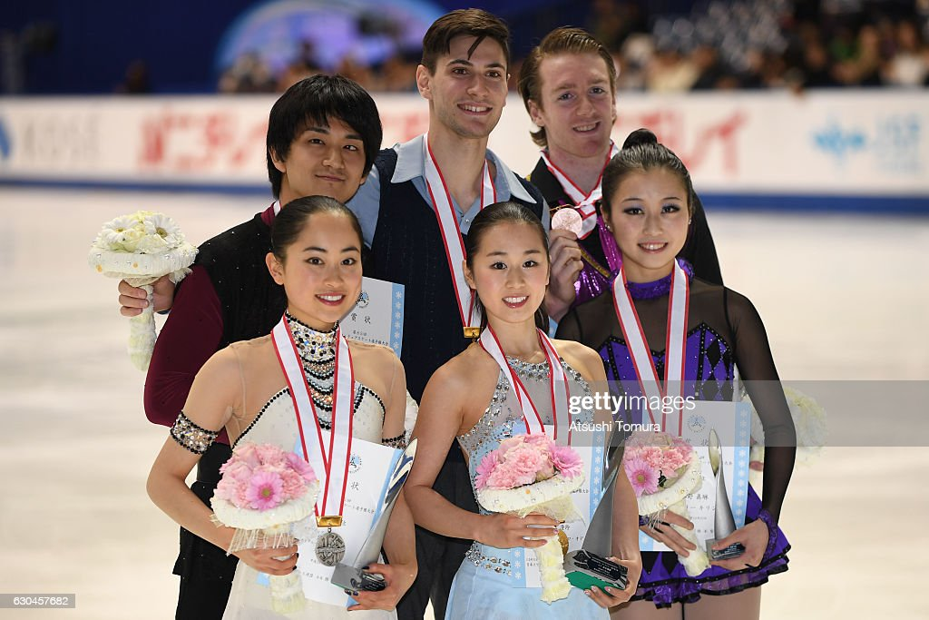 Miu Suzaki and Ryuichi Kihara of Japan (silver), Sumire Suto and Francis Boudereau-Audet of Canada (gold) and Marin Ono and Wesley Killing of Canada (bronze) pose with their medals after the award ceremony for the Pair during the Japan Figure Skating Championships 2016 on December 23, 2016 in Kadoma, Japan.