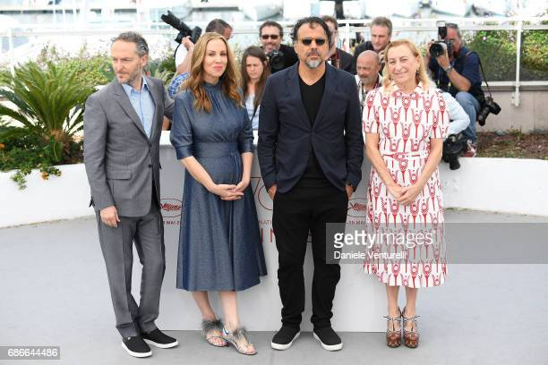 Miuccia Prada Alejandro Gonzalez Inarritu Mary Parent and Emmanuel Lubezki attend the 'Carne Y Arena' photocall during the 70th annual Cannes Film...