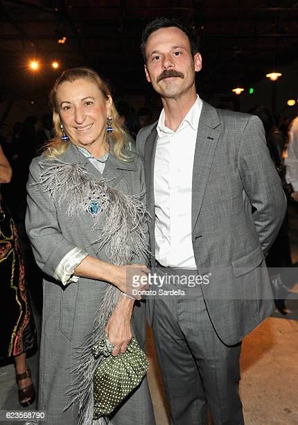 Miuccia Prada and Actor Scoot McNairy attend the premiere of 'Past Forward' a movie by David O Russell presented by Prada on November 15 2016 at...