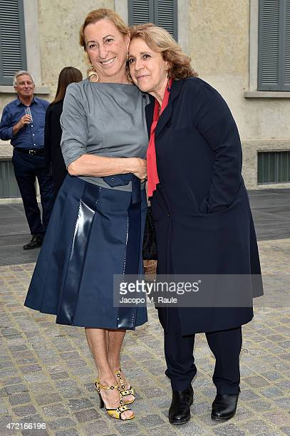 Miuccia Prada and Andree Ruth Shammah attend the Fondazione Prada Opening on May 4 2015 in Milan Italy