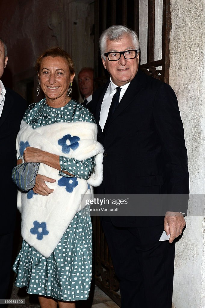 Miuccia Prada and Patrizio Bertelli attend the Dinner At 'Fondazione Cini, Isola Di San Giorgio' during the 2013 Venice Biennale on May 29, 2013 in Venice, Italy.