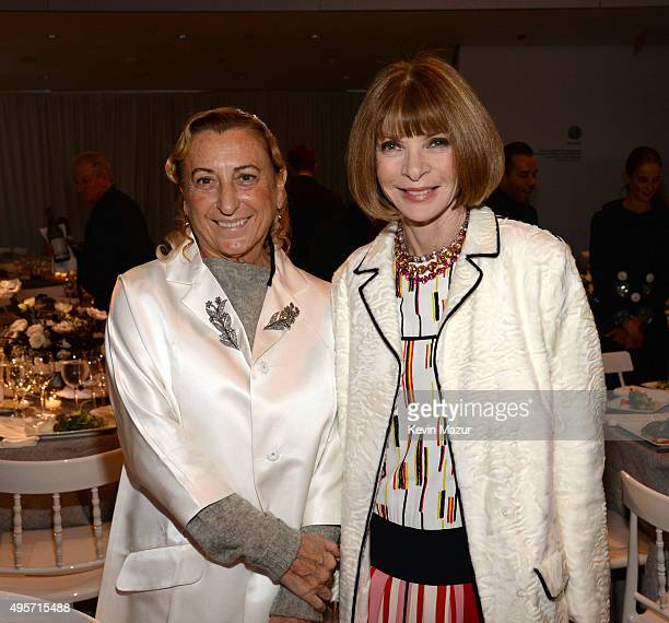 Miuccia Prada and Vogue EditorInChief and Conde Nast Artistic Director Anna Wintour attend the WSJ Magazine 2015 Innovator Awards at the Museum of...