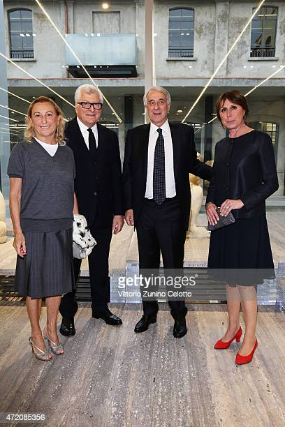 Miuccia Prada Patrizio Bertelli Giuliano Pisapia and Cinzia Sasso attend the Fondazione Prada Opening on May 3 2015 in Milan Italy