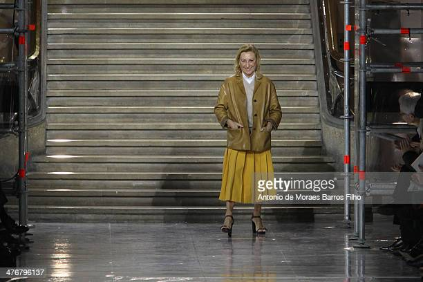 Miuccia Prada walks the runway during the Miu Miu show as part of the Paris Fashion Week Womenswear Fall/Winter 20142015 on March 5 2014 in Paris...