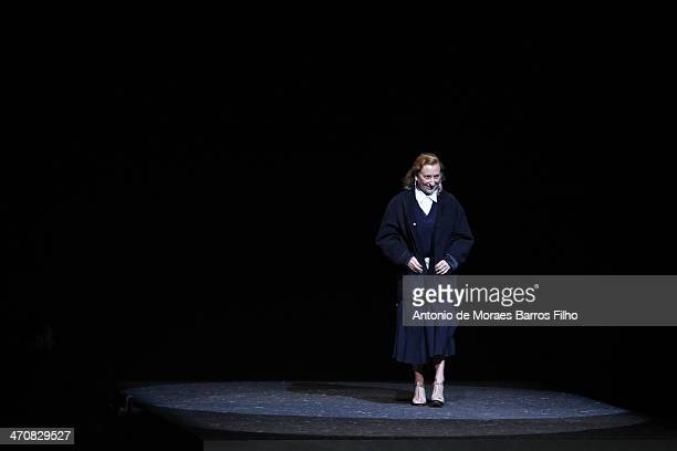 Miuccia Prada walks the runway during the Prada show as a part of Milan Fashion Week Womenswear Autumn/Winter 2014 on February 20 2014 in Milan Italy