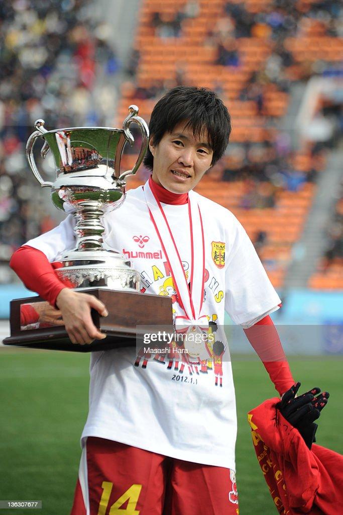 Miwa Yonetsu #14 of INAC Kobe Leonessa looks on after the All Japan Women's Soccer Championship Final match between Albirex Niigata Ladies and INAC Kobe Leonessa at the National Stadium on January 1, 2012 in Tokyo, Japan.