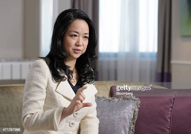 Miwako Date president of Mori Trust Hotels Resorts Co a unit of Mori Trust Co gestures as she speaks during an interview in Tokyo Japan on Friday Jan...