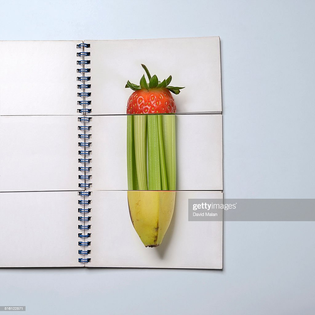 Mix and match puzzle book showing various fruits : Stock Photo