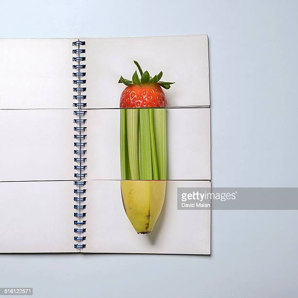 Mix and match puzzle book showing various fruits