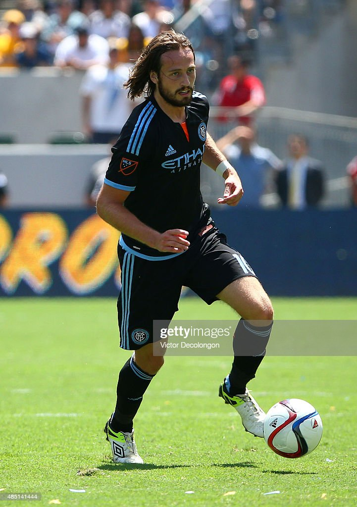 Mix Diskerud #10 of New York City FC controls the ball in the first half during the MLS match against the Los Angeles Galaxy at StubHub Center on August 23, 2015 in Los Angeles, California. The Galaxy defeated NYCFC