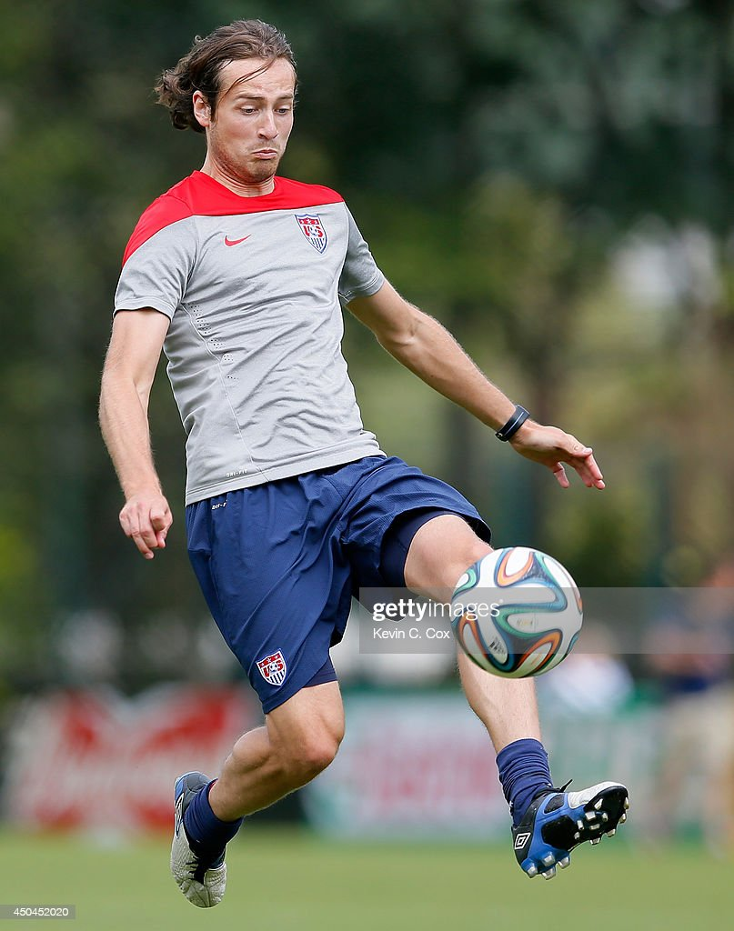 Mix Diskerud of the United States runs drills during their training session at Sao Paulo FC on June 11, 2014 in Sao Paulo, Brazil.