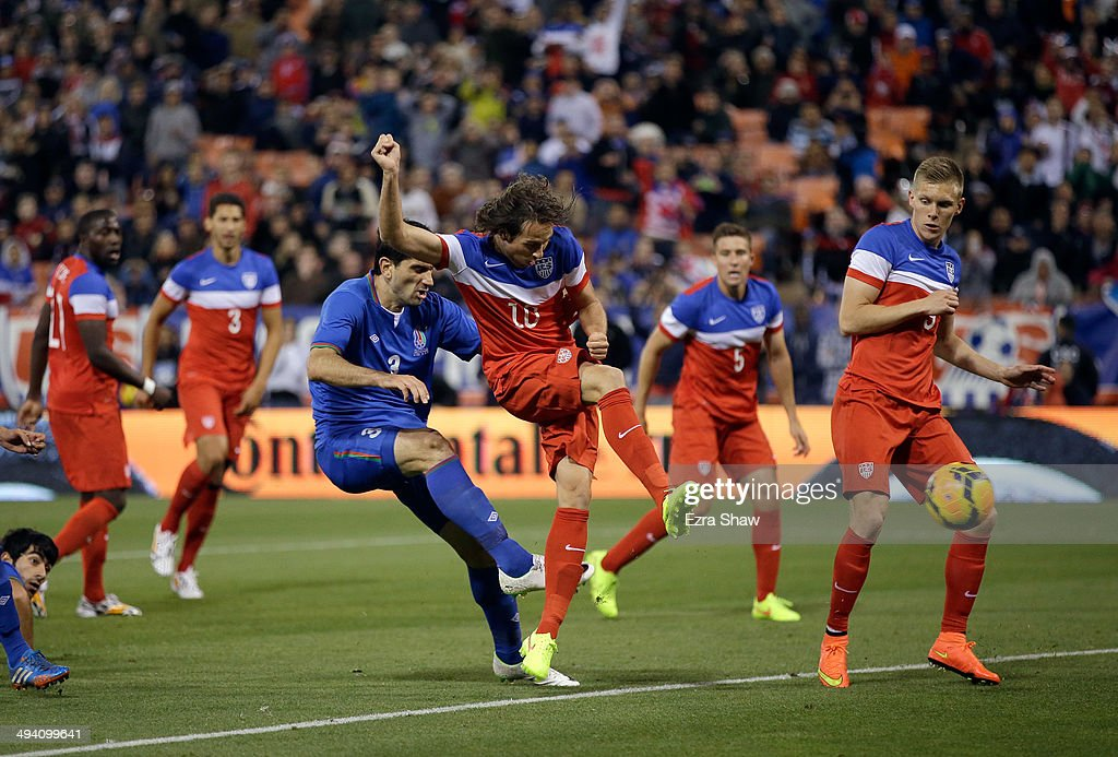 Mix Diskerud #10 of the United States scores a goal against Azerbaijan during their match at Candlestick Park on May 27, 2014 in San Francisco, California.