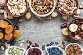 Mix of dried fruits and nuts on rustic wooden background with copy space. Top view. healthy food