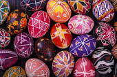 Mix of colored easter eggs with the traditional designs.