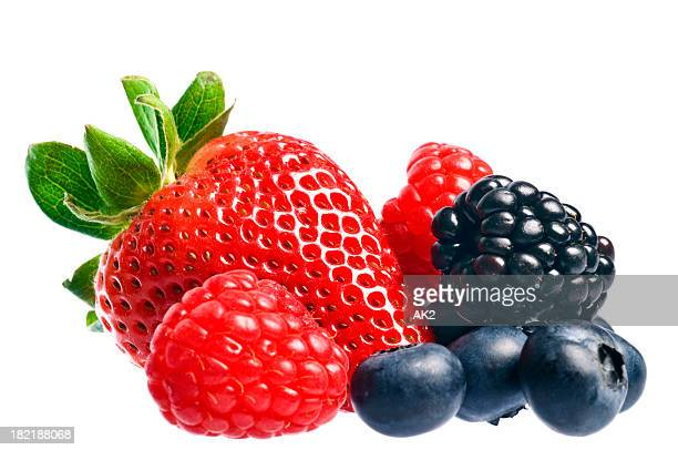 Mixed berries over white
