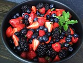 Berry salad in a black serving bowl garnished with mint leaves.