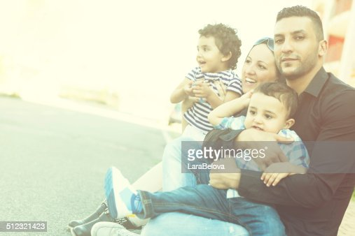 Mixed couple with children