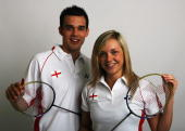 Mixed Doubles Chris Adcock and Gabrielle White poses for a photo prior to a training session at the National Badminton Centre on May 22 2008 in...